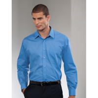 Russell Collection Mens L/S Poplin Shirt